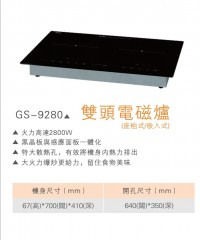 Giggas 德國上將 GS-9280 嵌入式/座檯式雙頭電磁爐